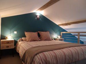 chambre sous toit mur bleu